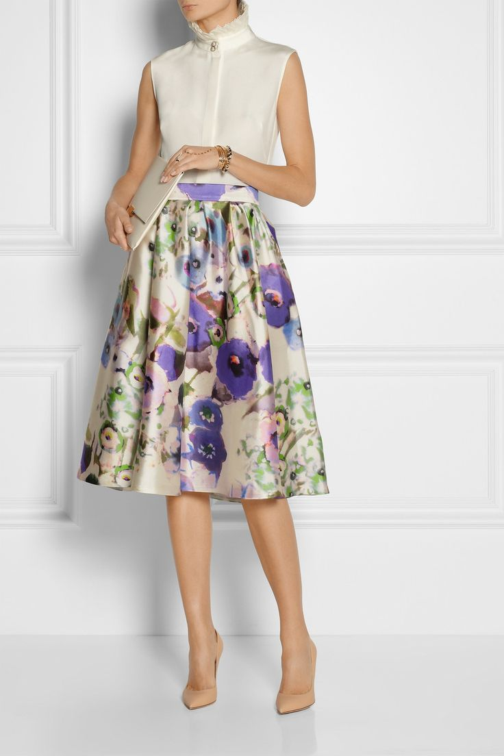 LELA ROSE Floral-print satin skirt $1,595 Invest in Lela Rose's whimsical elegance with this pretty satin skirt. This voluminous watercolor-effect style is lined in silk for a smooth feel and fluid movement. Pair yours with a ruffled blouse, or make it more casual with a chambray shirt.  Shown here with: Alexander McQueen top, Valentino bracelet, Arme De L'Amour bracelets, bracelet and ring, Gianvito Rossi shoes, Stella McCartney clutch.