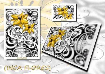 """""""INCA FLORES"""" graphisme numérique à partir de dessins impression sur toile 60x40x2 cm ou tee shirts present également sur le site killauro design ainsi que sur le blog http:/ - 10272003"""
