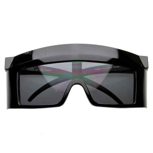 Crazy Oversize Futuristic Shield Lens Square Party Novelty Sunglasses 8121 BLACK