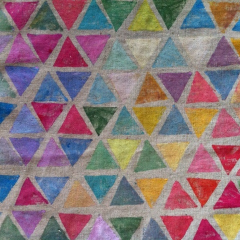 Hand stamped #Triangles on #Linen  #CharlotteHamilton
