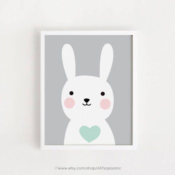 Printable Bunny art Baby room decor kids print Child by ARTsopoomc