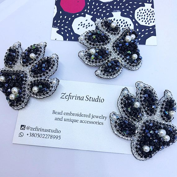 Exclusive holiday brooch beaded gift jewelry with glass beads, crystals and Japan beads.