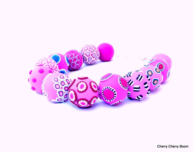 Pink Pop - a necklace with big beads from polymer clay. Ruth Jadric at Cherry Cherry Boom.