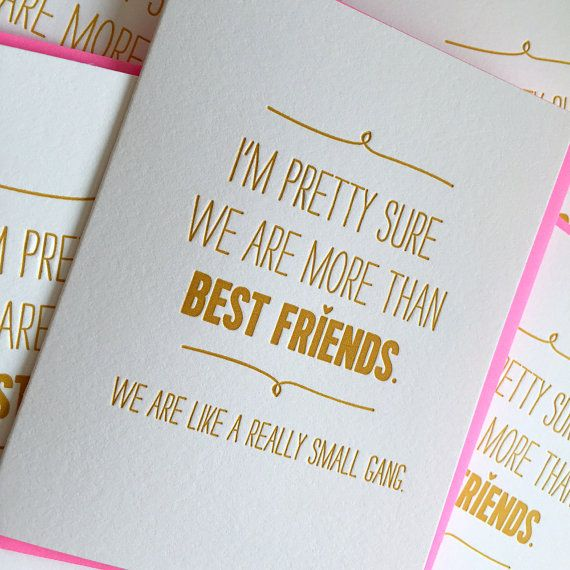 For your partner in crime / ride or die chick. As seen on Huffington Post!  Love this card and want it for free? Buy 4 cards get one free at this link: https://www.etsy.com/listing/189091588/buy-any-4-cards-get-one-card-free?ref=shop_home_feat_1  Individual Card. Size 4.25 x 5.5 Blank inside for your own note. Letterpress printed in matte gold ink on 100% cotton card stock. Paired with neon pink envelope.  © DeLuce Design. All rights reserved. Artwork is property of Jill DeLuce and may not…