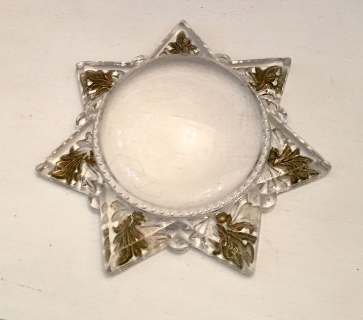 Antique Victorian Mourning Star Magnifying Goofus Dome Glass Paperweight #Unknown #Victorian