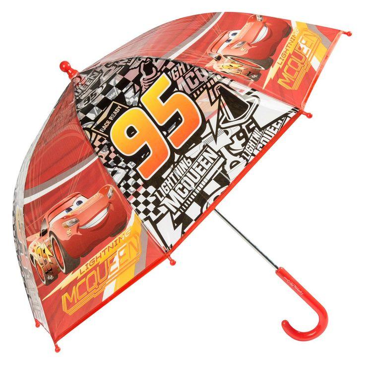 Je bent klaar voor elk seizoen met deze paraplu van Cars 3! De handmatige paraplu heeft een rood handvat van stevig kunststof. Op de rode panelen zie je een afbeelding van Lightning McQueen en door de transparante panelen met racevlaggen zie je de regendruppels vallen. Met deze paraplu wordt door de regen lopen een feestje!Afmeting:  Ø 70 cm - Paraplu Cars 3