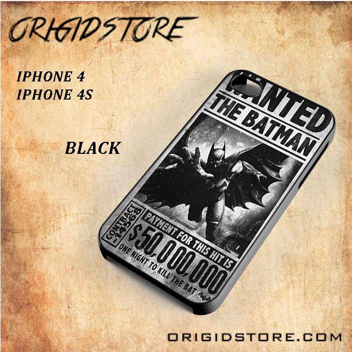 Batman Arkham Origins Wanted Poster Vintage Black White Snap On 3D For Iphone 4/4S Case