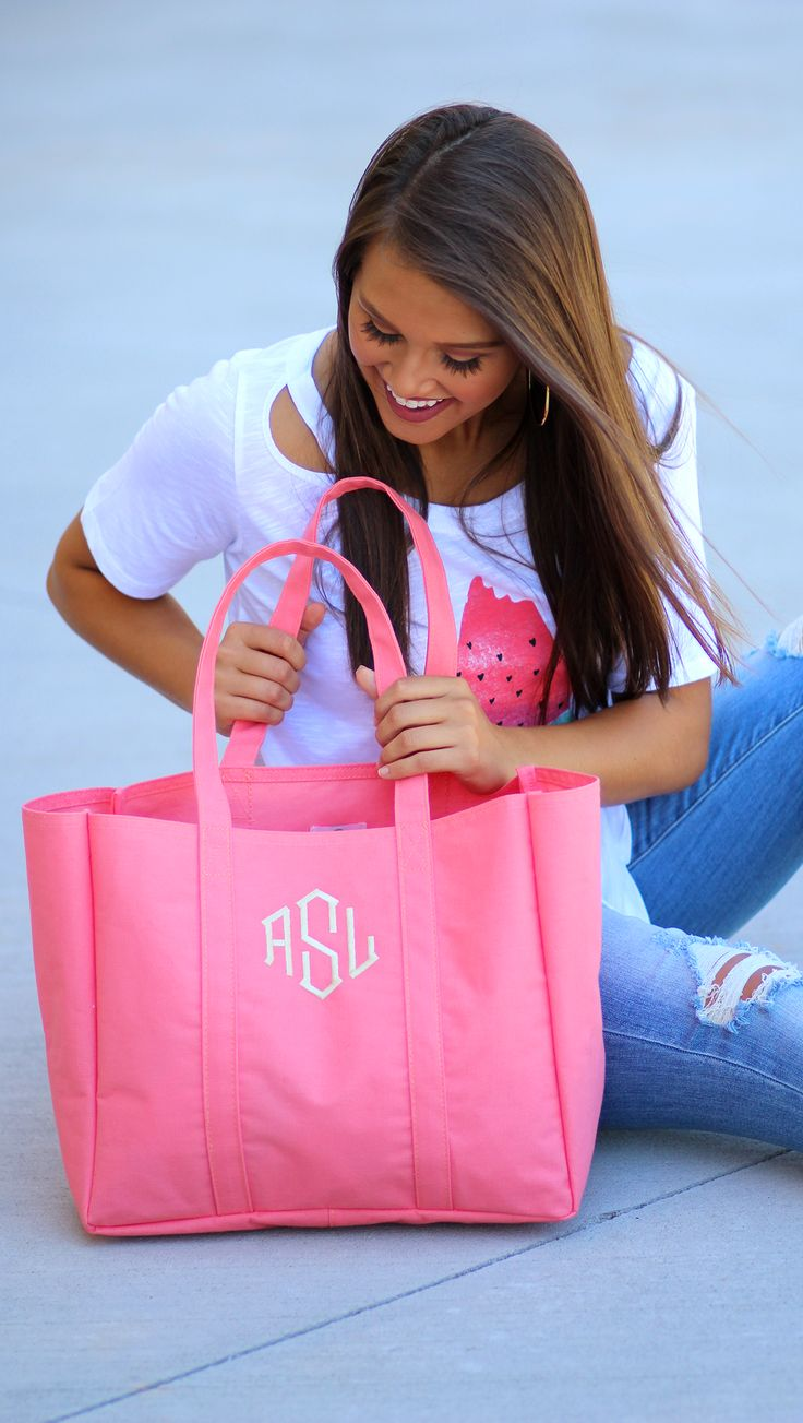 Peek-a-boo into this Monogrammed Essential Tote!! We've got all the goodies, click to shop NOW!