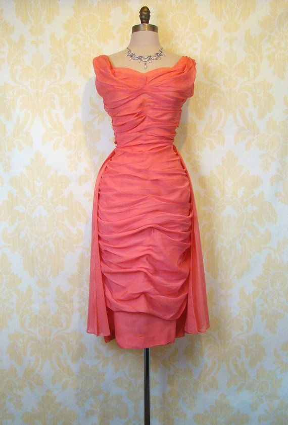 Vintage 50s 60s CORAL CHIFFON Ruched Bombshell Wiggle Cocktail Wedding Party Dress M L. 385.00, via Etsy.