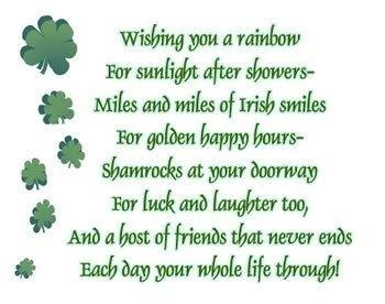 Wish You A Rainbow Irish Blessing Word Art