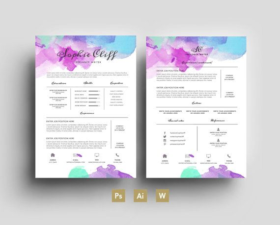 21 best Watercolour Résumés images on Pinterest Professional - resume business cards