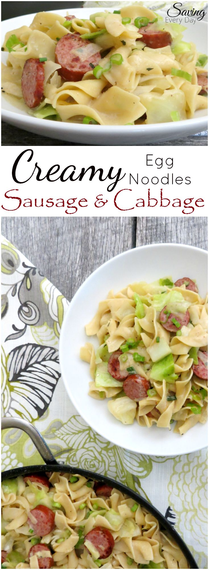 Creamy egg noodles and cabbage with Hillshire Farm Smoked Turkey Smoked Sausage. Quick, healthy and delicious! #HillshireSausage