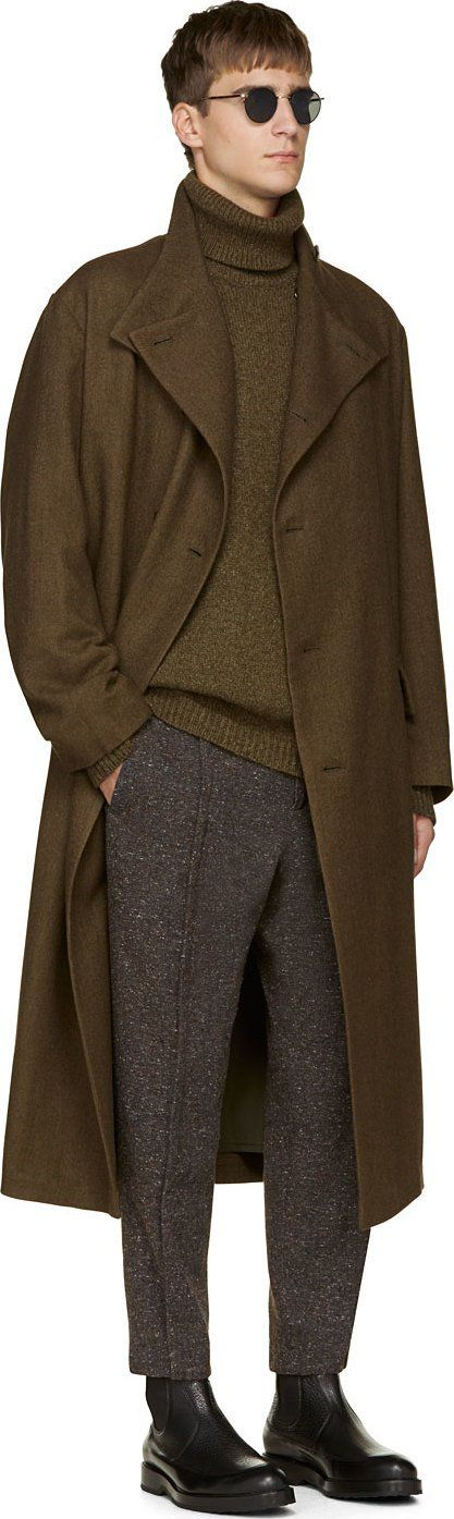 Yohji Yamamoto - long oversized khaki wool coat - men - winter - 2014 - Ssense