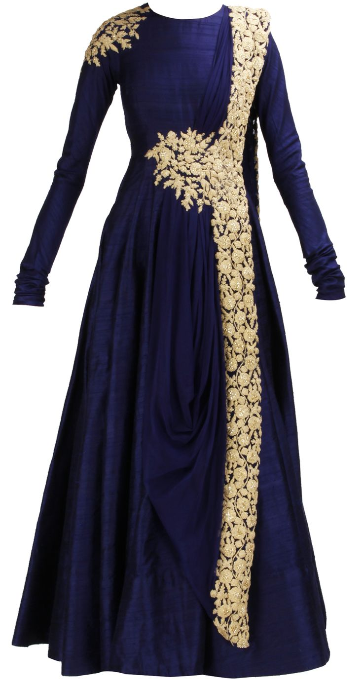 Navy blue raw silk anarkali with gold embroidery - so want this!