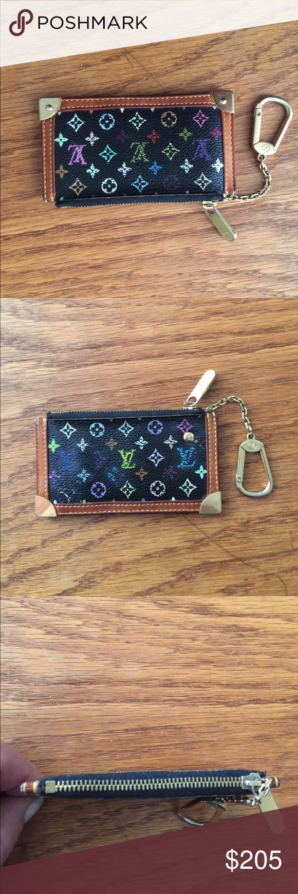 Authentic Louis Vuitton wallet Authentic Louis Vuitton Pochette coin case keychain purse very minor wear like new condition no rips tears stitching is perfect no tarnish on gold looks new code is behind zipper hard to see on pics CA0093 Louis Vuitton Bags Wallets
