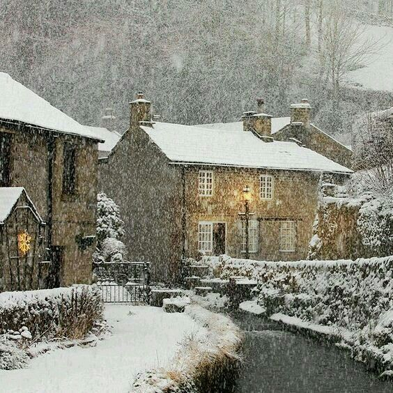 Cotswolds in winter snow storm