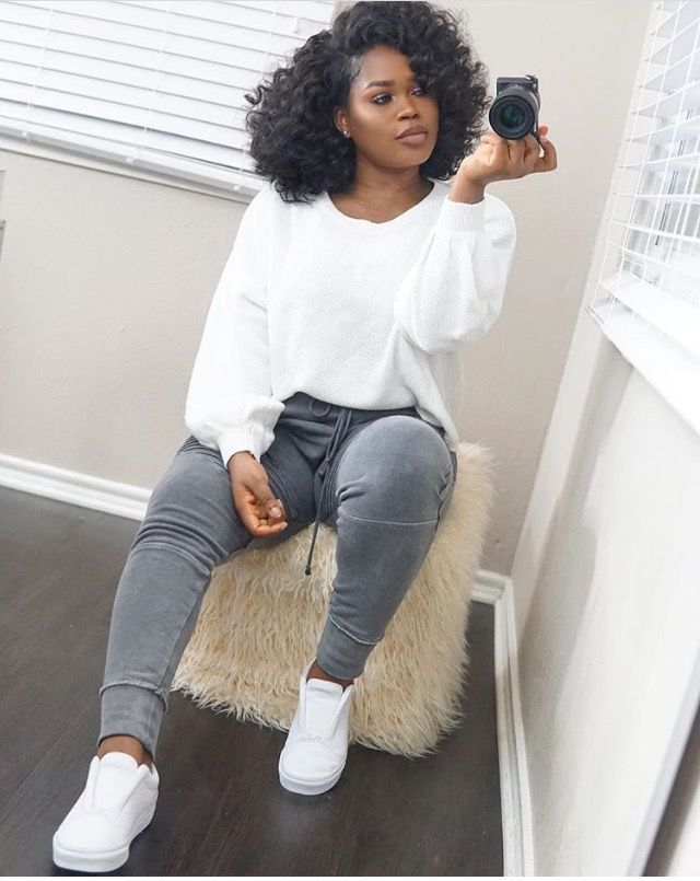 Cute, Comfy, Casual Outfit Straight Leg Style Joggers Tight Fit In Grey Lightly Faded & Distressed, Oversized Sweater/Sweatshirt & Slip On Style Sneakers In A Crisp Bright White, Super Simple Outfit But Looks So Chic & So Fresh I Love It
