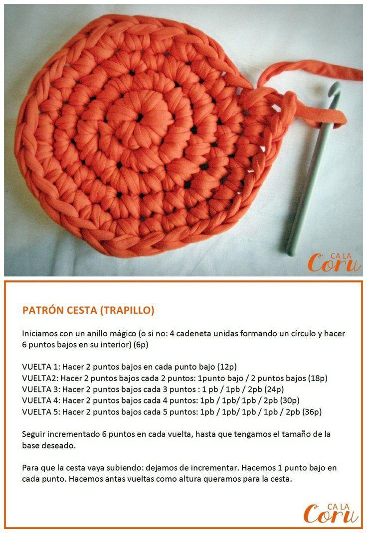 Mejores 142 im genes de tutoriales cestas de trapillo en - Cestas de ganchillo ...