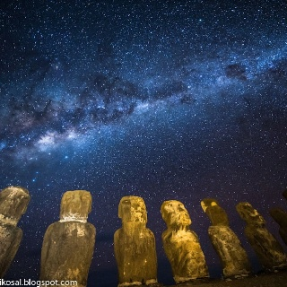 Milky way above easter island........... thk:::::::::::::::::Easter Island is one of the most remote inhabited islands in the world.[6] The nearest inhabited land (50 residents) is Pitcairn Island at 2,075 kilometres (1,289 mi), and the nearest continental point lies in central Chile, at 3,512 kilometres (2,182 mi).