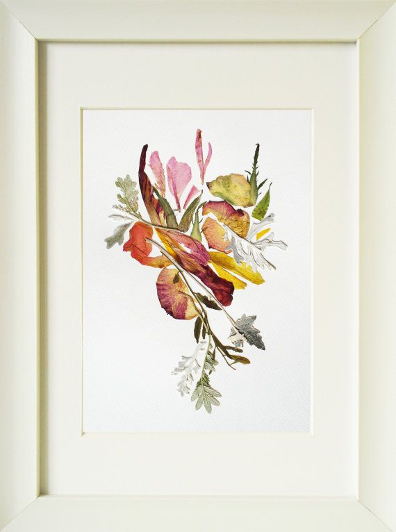 herbarium art real pressed flowers picture by