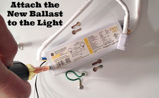 an easy fluorescent light fix, electrical, home maintenance repairs, lighting, Install the new ballast like your removed the old one with screws