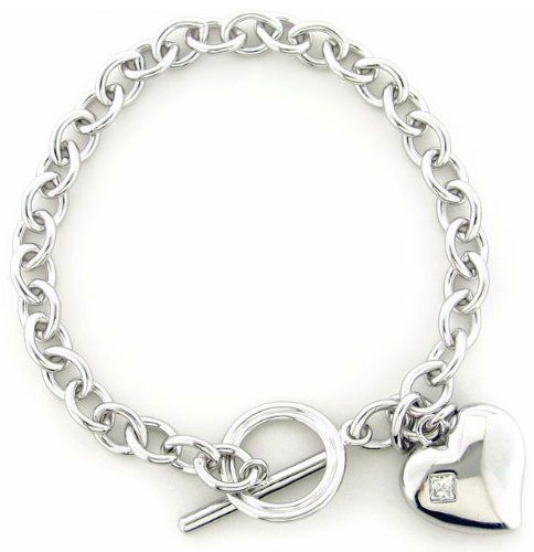 Sterling Silver Square-Cut Cubic Zirconia Chain Link Puffed Heart Toggle Bracelet Joolwe. $59.99