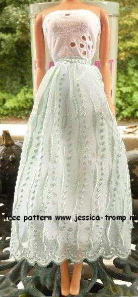 gratis naaipatronen voor een Barbie pop; rok en blouse patroon
