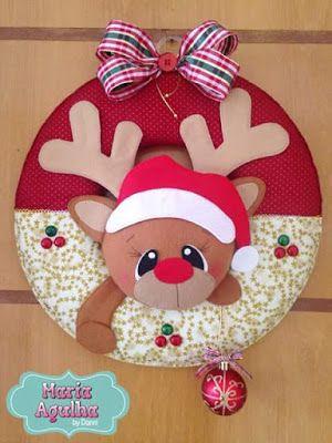 guirlanda de rena natal com molde; reindeer christmas felt; navidad fieltro…