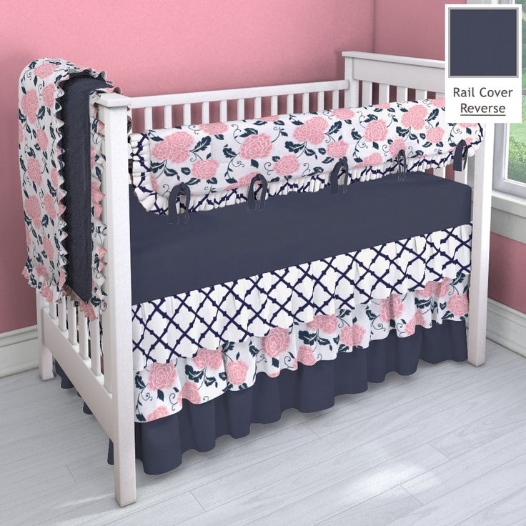 Navy And C Pink 3 Tier Nursery Idea Customizable Crib Bedding Set Carousel Designs
