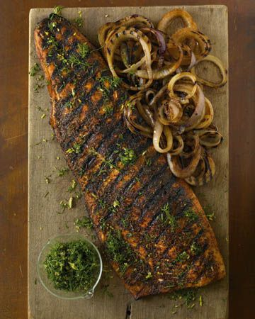 Hot Smoked Norwegian Salmon with Grilled Onions