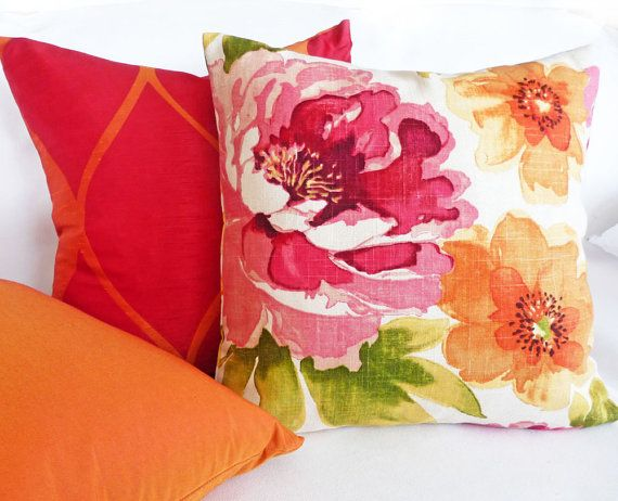 watercolor floral pillow 12x20 colorful throw pillows pink red orange green floral lumbar pillow large flowers black friday