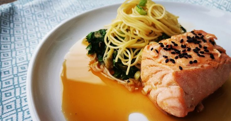 Confit Salmon w/ Egg Noodles and Ginger Dressing