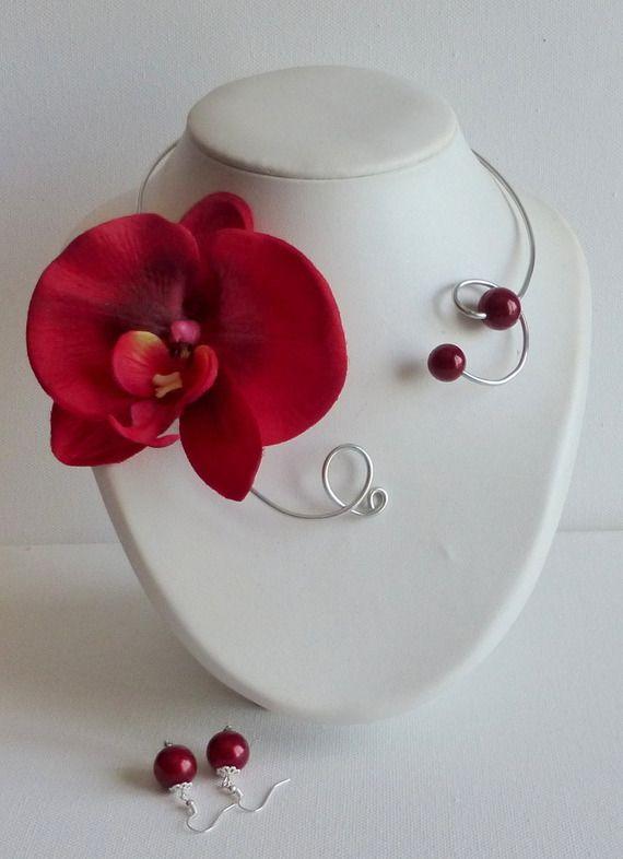 collier orchidée rouge parure femme pour mariages,fetes,soirée chic