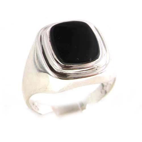 Gents Solid 925 Sterling Silver Natural Onyx Mens Signet Ring, Made in England - Size O - Finger Sizes N to Z+3 Available
