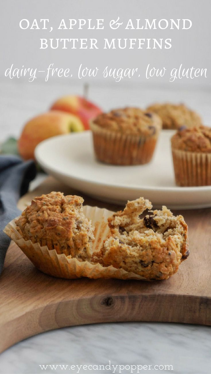 Oat, apple and almond butter muffins | Dairy-Free, Low Sugar, Low Gluten via @eyecandypopper