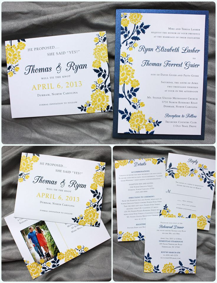 Golden Yellow Navy Blue Spring Flower Clutch Pocket Wedding Invitations and Photo Save-the-Date Postcards