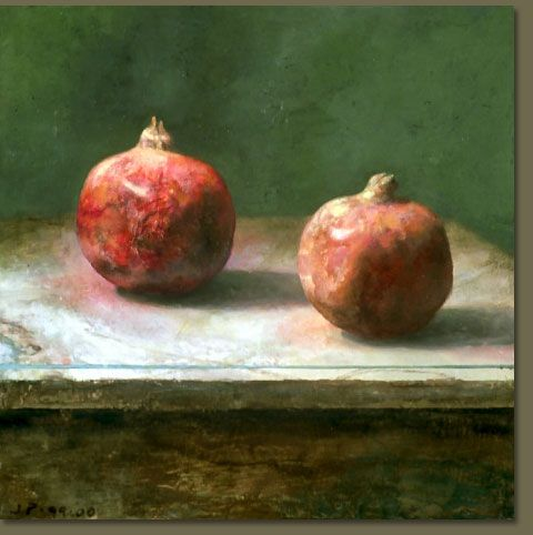 """Two Pomegranates"" by Jim Phalen  I just like his technique, that it's painterly without sacrificing realism"