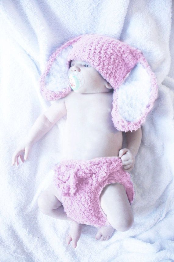 0 to 3m Newborn Baby Pink Bunny Hat Pom Pom Diaper Cover Set Baby Hat Bunny Ear Costume Pink White Baby Shower Gift #baby #children #kids #babyboy #babygirl #easter #bunny #bunnyhat #babyhat #hat #babamoon #etsy #photoprop #plum #diaperover #diaperciverst