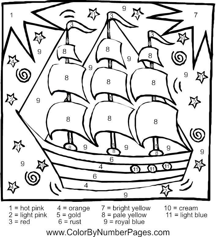 boat color by number page