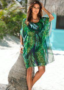 Пляжная туника, bpc selection, зеленый с рисунком