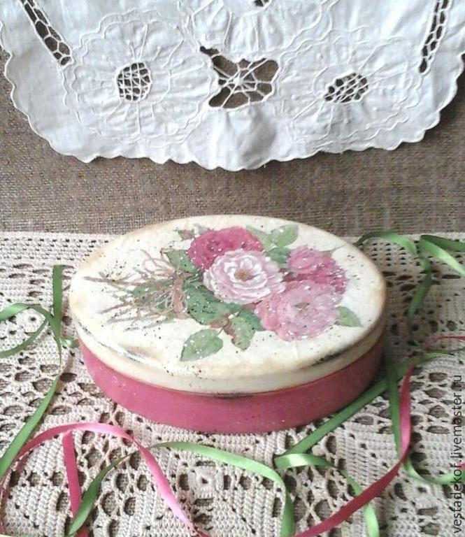 Купить Шкатулка Букетик роз в стиле шебби шик - шкатулка ручной работы, розы