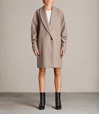 Womens Kenzie Ruche Coat (DUNE BROWN) - product_image_alt_text_1