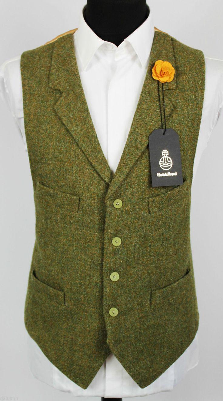 Harris Tweed Waistcoat Lapel Hand Tailored Wedding Large 44/46 EXCLUSIVE ITEM…