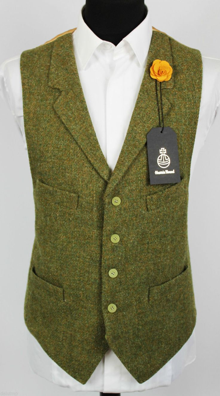 Harris Tweed Waistcoat Lapel Hand Tailored Wedding Large 44/46 EXCLUSIVE ITEM…