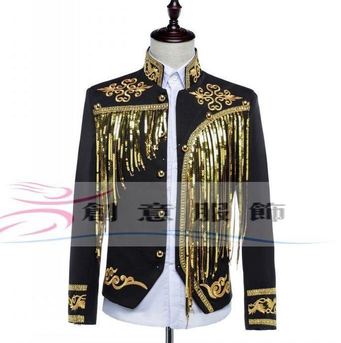 Mens Blazer Military Bar Sequins Gold Bling Coat Jacket Dress Formal Blazer New .  US $54.59
