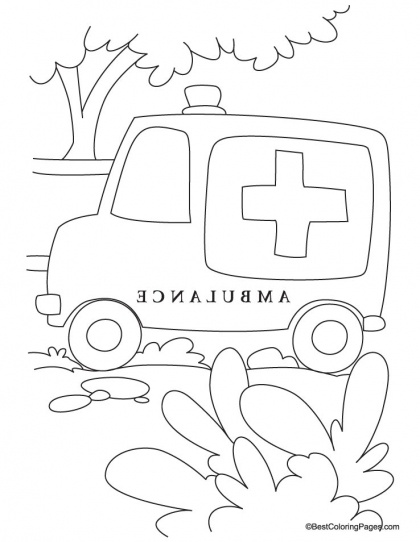 ambulance van is stuck in jungle coloring page download free ambulance van is stuck in - Ambulance Coloring Pages Printable