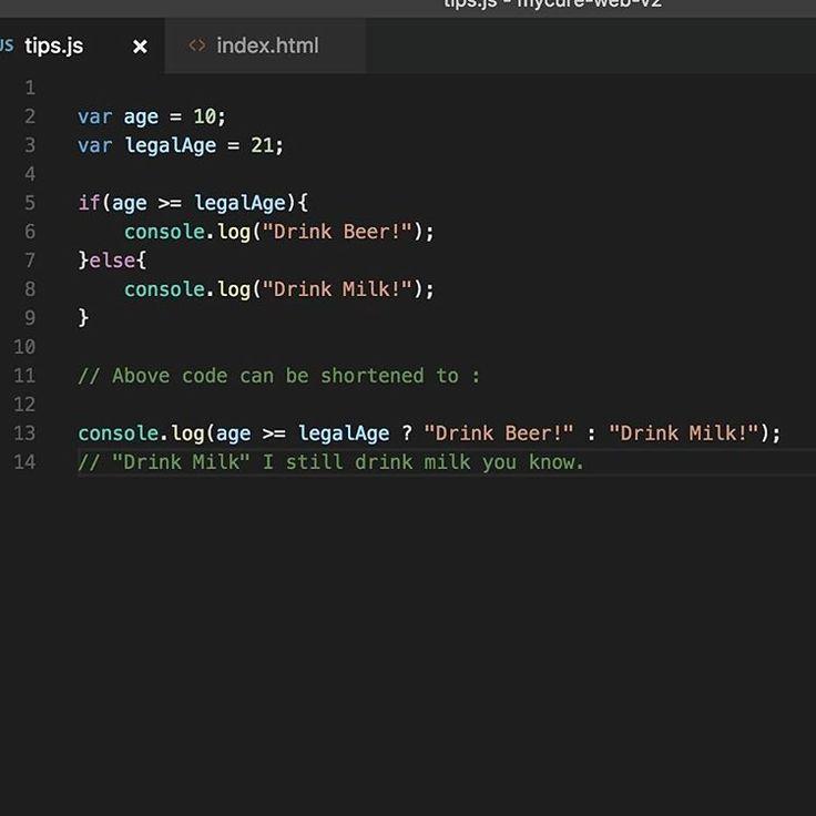 Make an if else statement one liner.  www.greenfox.me  #jstips #javascript #tips #code #coding #programming #program #vscode #webdev #webdevelopment #webdeveloper #nodejs #angular #jquery #angularjs #react #js #if #ifelse #condition #shortcut
