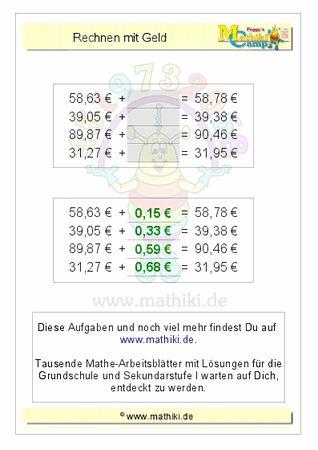 Rechnen mit Geld (ZE,ZE€+0,ZE€) - ©2011-2016, www.mathiki.de - Ihre Matheseite im Internet #math #money #geld #euro #cent #arbeitsblatt #worksheet