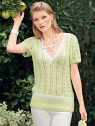 Схема вязания: Ажурный лимонно-желтый пуловер | Пуловеры спицами - petelka.net