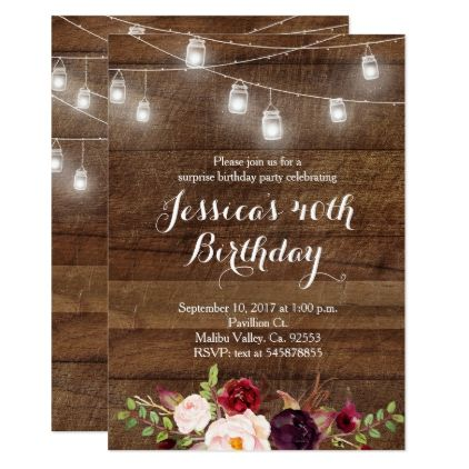 Marsala String light birthday invitation - giftidea gift present idea number thirty thirtieth bday birthday 30thbirthday party anniversary 30th